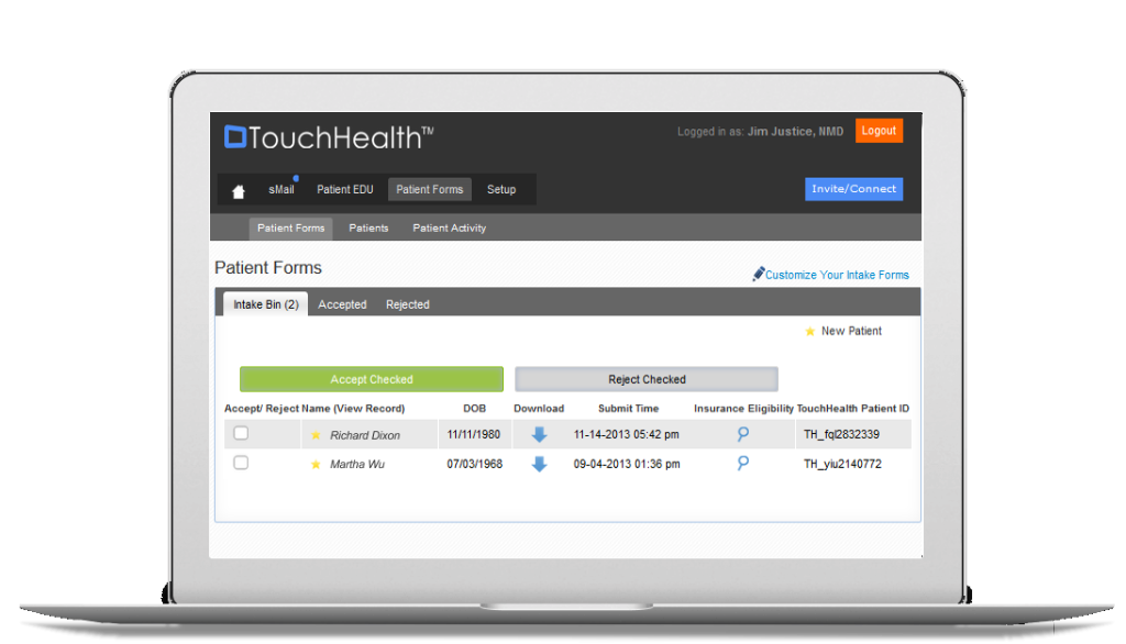 TouchHealth Dashboard on Laptop